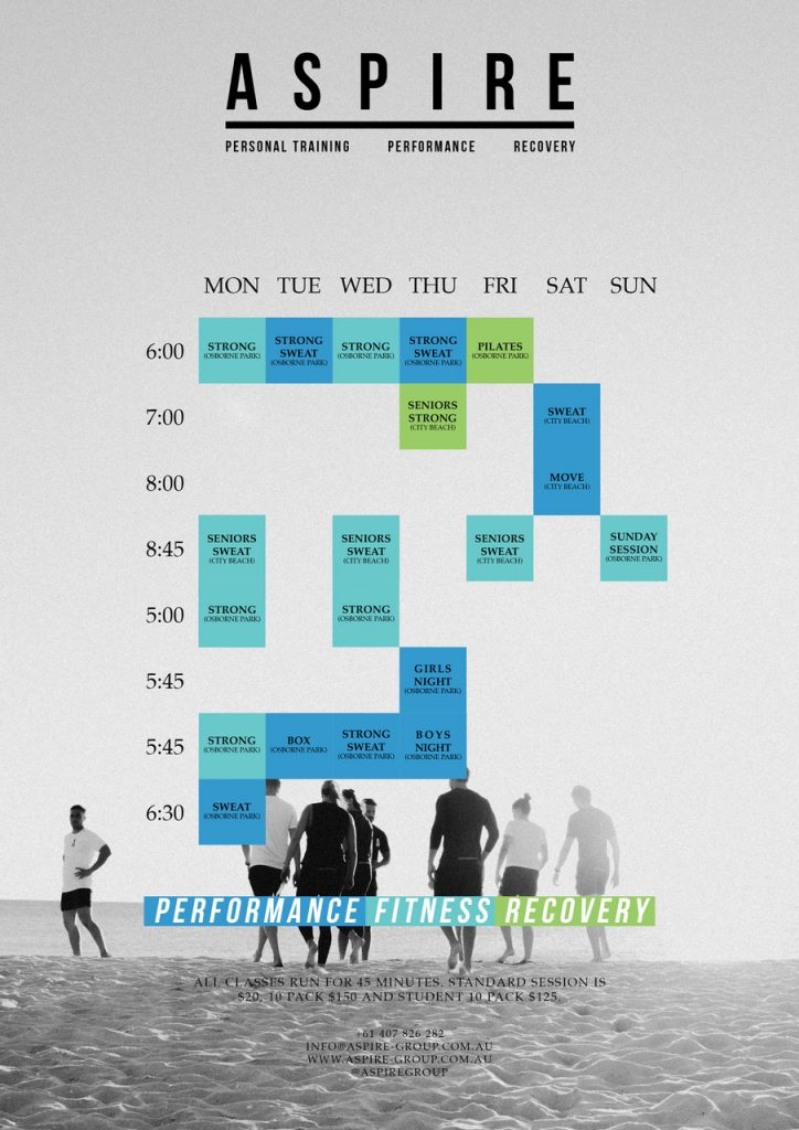 fitness classes timetable